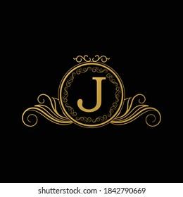 Logo Design for Hotel,Restaurant and others. Luxury Badge Logo Design of Letter J. Golden Luxury Letter J
