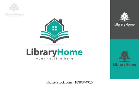 Logo design the house combined with books symbolizes the library. You can use it for your home or library logo or reading area or anything else. vector