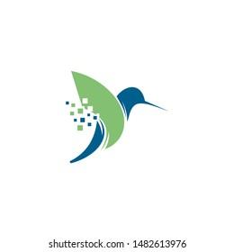 logo design hummingbird technology vector