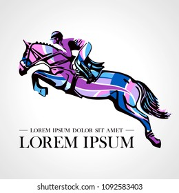 Logo. Design icons. Silhouette of racing horse with jockey. Equestrian sport.  Poster. Sport. Jockey riding jumping horse. Vector Illustration.