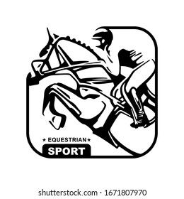 Logo. Design icons. Silhouette of racing horse with jockey. Equestrian sport.  Poster. Sport. Jockey riding jumping horse. Vector Illustration
