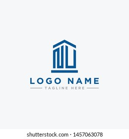 logo design inspiration for companies from the initial letters of the NU logo icon. -Vector