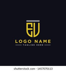 logo design inspiration for companies from the initial letters of the EV logo icon. -Vector
