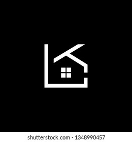 Logo design of K KL LK in vector for construction, home, real estate, building, property. Minimal awesome trendy professional logo design template on black background.
