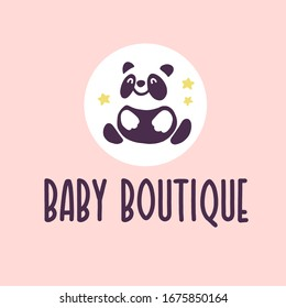 Logo design for kid toys store, market, boutique with cute panda bear character silhouette sitting isolated on white background. Baby accessories boutique emblem design. Vector flat illustration.