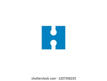 Logo design of the letter H with a circuitry symbol inside the negative space.