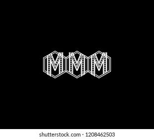 Logo Design Letter MMM Linear Polygonal Monogram