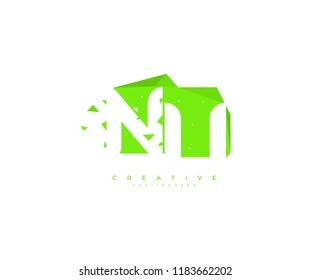 Logo Design Letter NU Abstract Origami Rectangle Shape Triangle Pixel