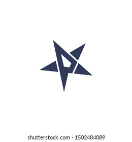 logo design letter P star vector