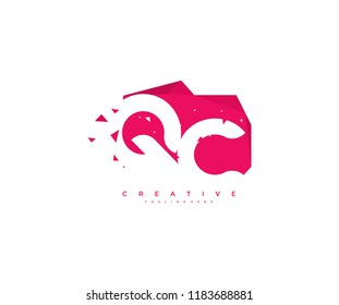 Logo Design Letter QC Abstract Origami Rectangle Shape Triangle Pixel