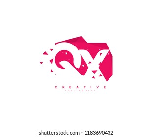 Logo Design Letter QX Abstract Origami Rectangle Shape Triangle Pixel