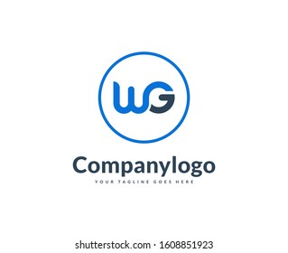 logo design letter WG, vector illustration