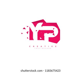 Logo Design Letter YP Abstract Origami Rectangle Shape Triangle Pixel