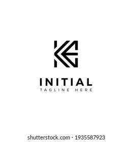 Logo design letters K and E. Simple modern. Vector template