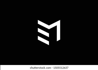 Logo design of M EM ME in vector for construction, home, real estate, building, property. Minimal awesome trendy professional logo design template on black background.
