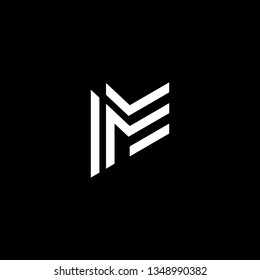 Logo design of M MM ME EM in vector for construction, home, real estate, building, property. Minimal awesome trendy professional logo design template on black background.