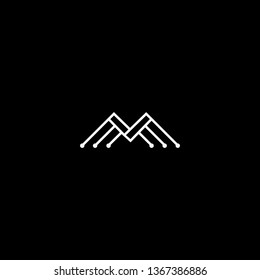 Logo design of M MM MMM MV VM in vector for technology, electronics, digital, connection. Minimal awesome trendy professional logo design template on black background.