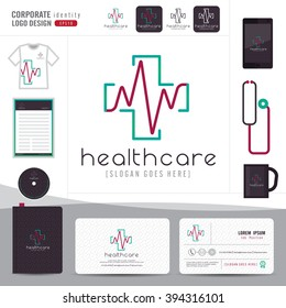 logo design medical health care or hospital and business card template with clean and modern flat pattern,Corporate identity,vector illustrator