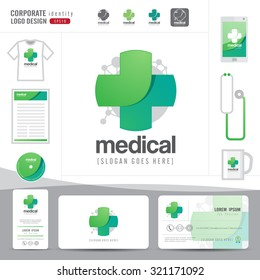 logo design medical healthcare or hospital and business card template with clean and modern pattern,Corporate identity,flat design,vector illustrator