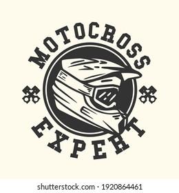logo design motocross expert with motocross helmet vintage illustration