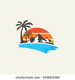 logo design mountain sea vector