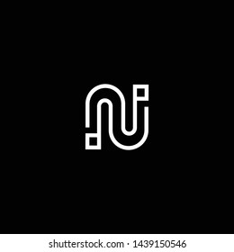 Logo design of N NN NU UN in vector for technology, electronics, digital, connection. Minimal awesome trendy professional logo design template on black background.