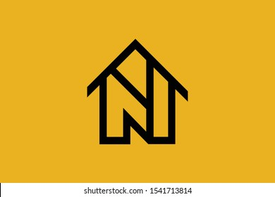 Logo design of N NN in vector for construction, home, real estate, building, property. Minimal awesome trendy professional logo design template on black background.