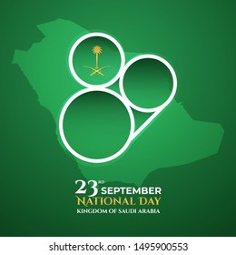 Logo design the national holiday of the Kingdom of Saudi Arabia 89 years , on September 23rd. The Logo above saudi map vector