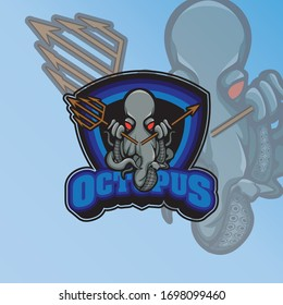 Logo design with octopus character