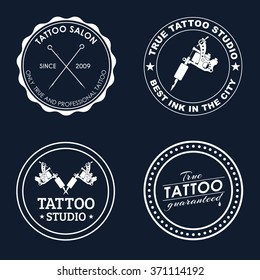 Logo Design on a blue background for tattoo parlors, shops, studios and artists. Vector illustrations. Set