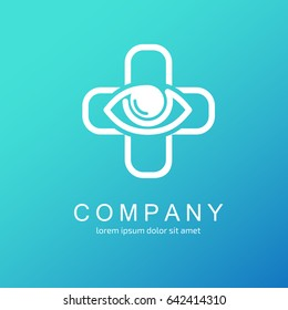 Logo design ophthalmologist vector template. Illustration design of logotype business oculist clinic flat symbol. Eye and cross web icon. Correction of vision pictogram