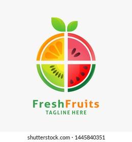 Logo design of organic fresh fruits