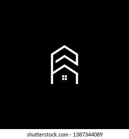 Logo design of P H PH HP in vector for construction, home, real estate, building, property. Minimal awesome trendy professional logo design template on black background.