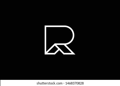 Logo design of P R RP PR in vector for construction, home, real estate, building, property. Minimal awesome trendy professional logo design template on black background.