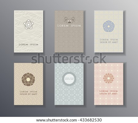 logo design pages templates for flyers set of brochures posters and cards with