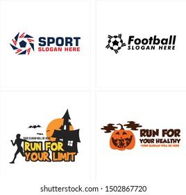 Logo design with pentagon ball star home people run bat pumpkin vector suitable for sport football healthy club Halloween