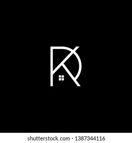 Logo design of PK KP  DK KD in vector for construction, home, real estate, building, property. Minimal awesome trendy professional logo design template on black background.