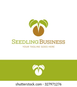 logo design for plant nursery, organic farming, christian organization.  Tiny mustard plant emerging from seed.