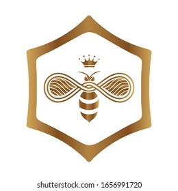 logo design queen bee isolated on white background. Vector illustration.