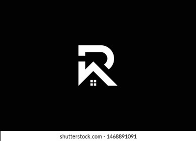 Logo design of R P PR RP in vector for construction, home, real estate, building, property. Minimal awesome trendy professional logo design template on black background.
