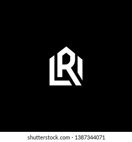Logo design of R RU UR in vector for construction, home, real estate, building, property. Minimal awesome trendy professional logo design template on black background.
