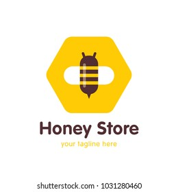 Logo Design for The Raw Honey Shop with the bee in the sote. flat design. vector illustration.