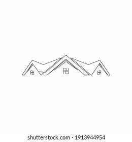 logo design real estate continuous line drawing simple clean and tidy