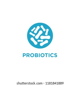 Logo design related to probiotic bacteria. Healthy nutrition ingredient for therapeutic.