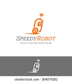 logo design of a robot character for technology or computer related services