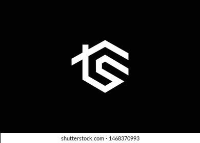 Logo design of S TS ST in vector for construction, home, real estate, building, property. Minimal awesome trendy professional logo design template on black background.