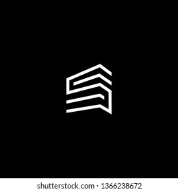 Logo design of S in vector for construction, home, real estate, building, property. Minimal awesome trendy professional logo design template on black background.