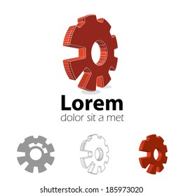 Logo design set. Emblem with 3d cog wheel. Eps10 vector for corporate identity.