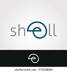 Logo design. Shell, letter e concept