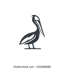 logo design silhouette pelican, water bird, large throat pouch. icon, vector symbol, outline